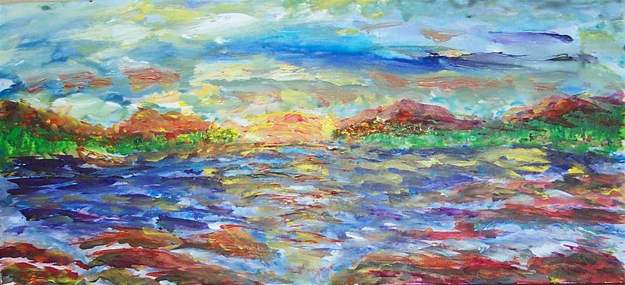 Sunset Painting - Before Rain by Mary Sedici