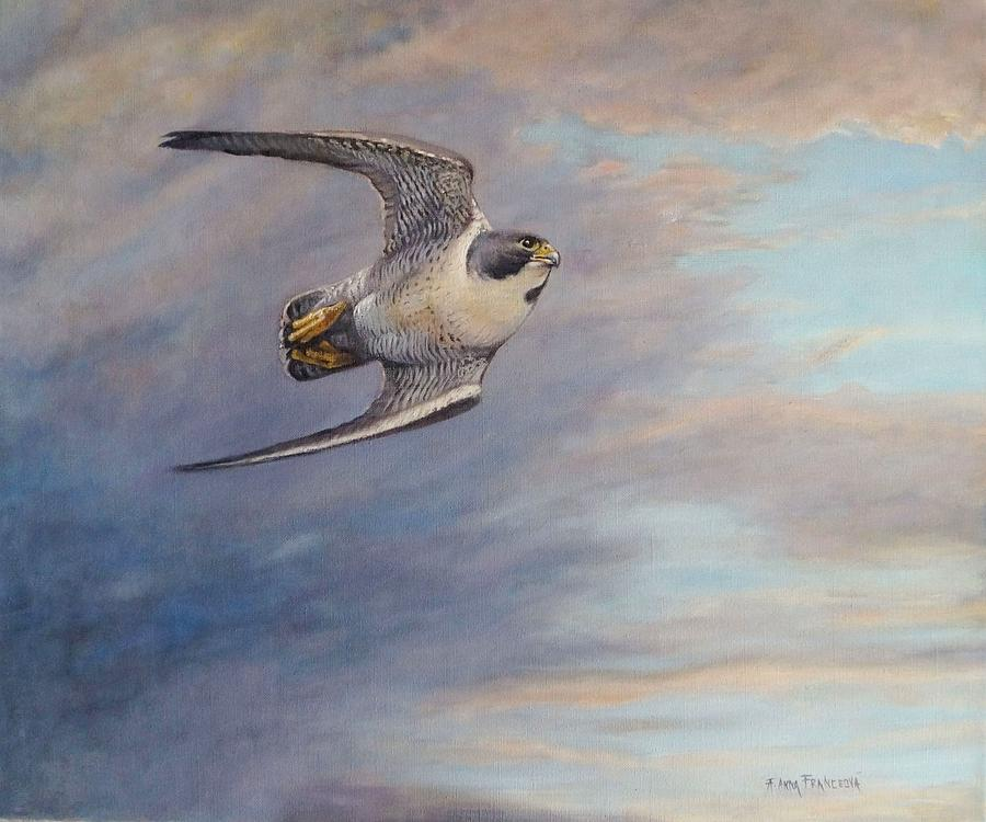 Falconry Painting - Before the attack by Anna Franceova