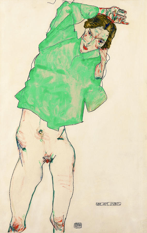 Mirror Painting - Before The Mirror by Egon Schiele