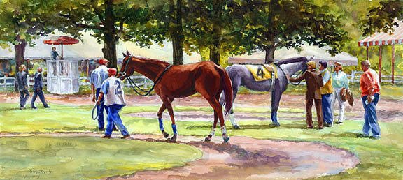 Watercolor Painting - Before the Race by Carolyn Epperly