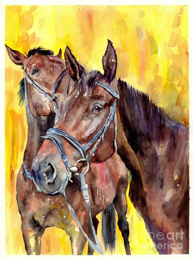 Horse Painting - Before The Race by Suzann Sines