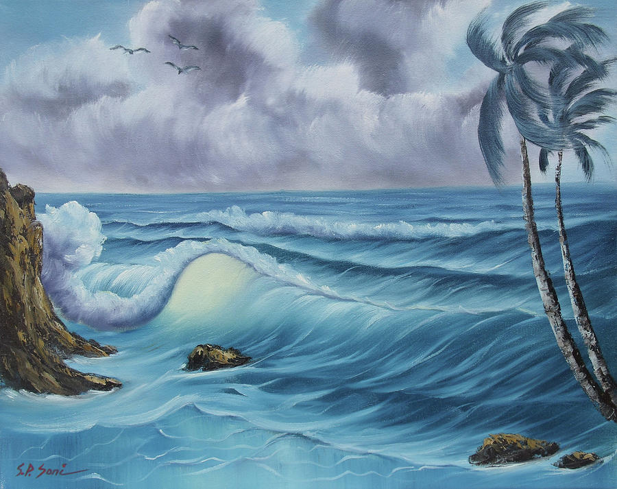Seascape Painting - Before The Storm by SP Soni