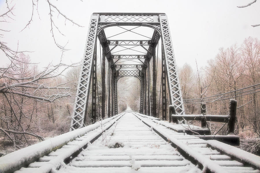 Appalachia Photograph - Beginning Of Winter Trestle In The Snow by Debra and Dave Vanderlaan