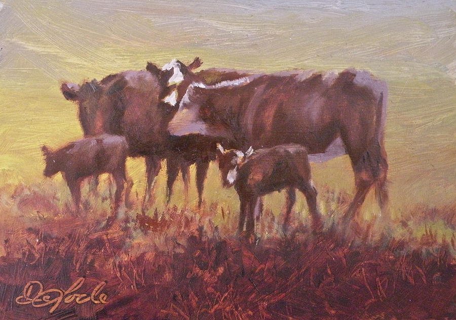 Cows Painting - Beginnings by Mia DeLode
