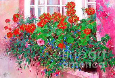 Flower Painting - Begonia by Bo Li