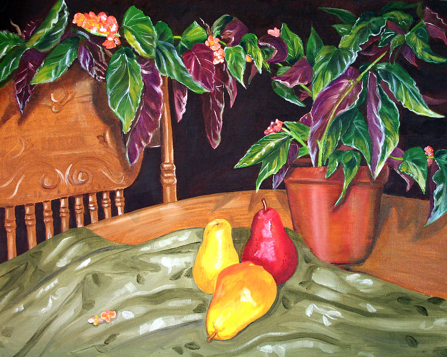 Still Life Painting - Begonias And Pears by Dorothy Riley