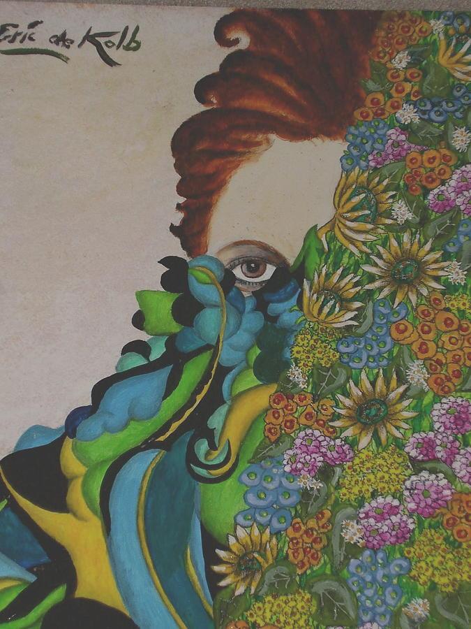 Flowers Painting - Behind Flowers by Eric de Kolb