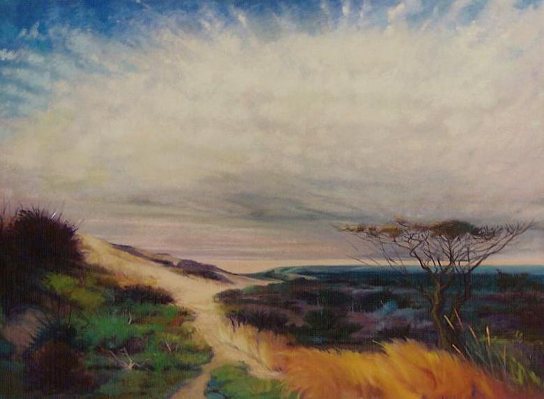 Landscape Painting - Behind The Dunes by Marilyn Moskowitz