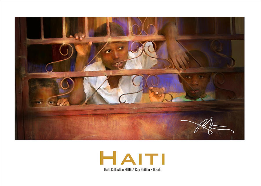 Haiti Painting - Behind The Iron Gate-poster- by Bob Salo