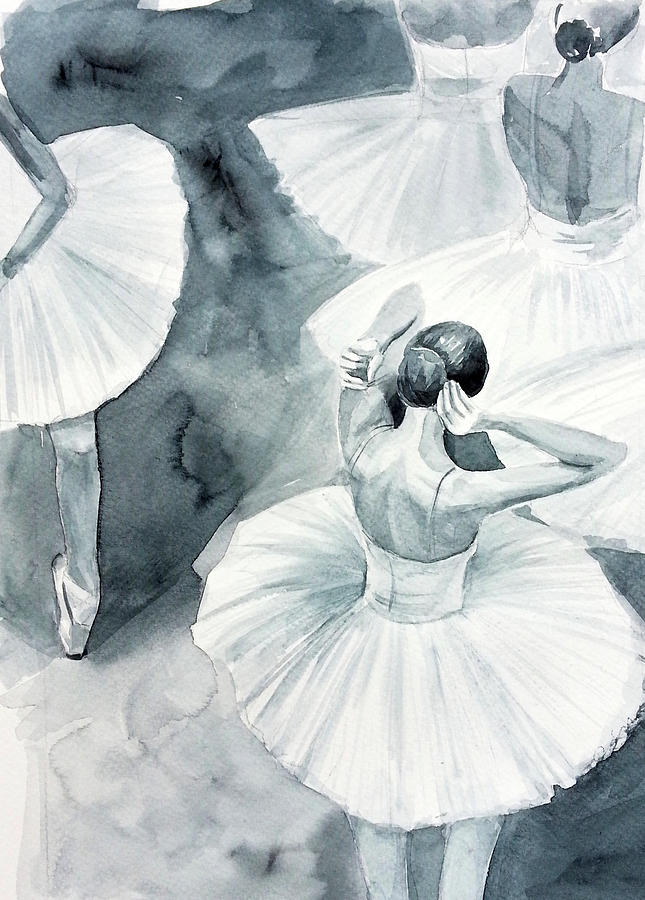 the latest c4be6 aed6a Behind The Scenes At The Ballet - Ballet Watercolour Painting - Ballerina -  Ballerinas