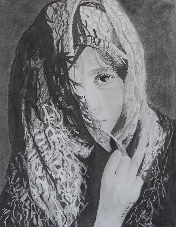 Graphite Drawing - Behind The Veil by Quwatha Valentine