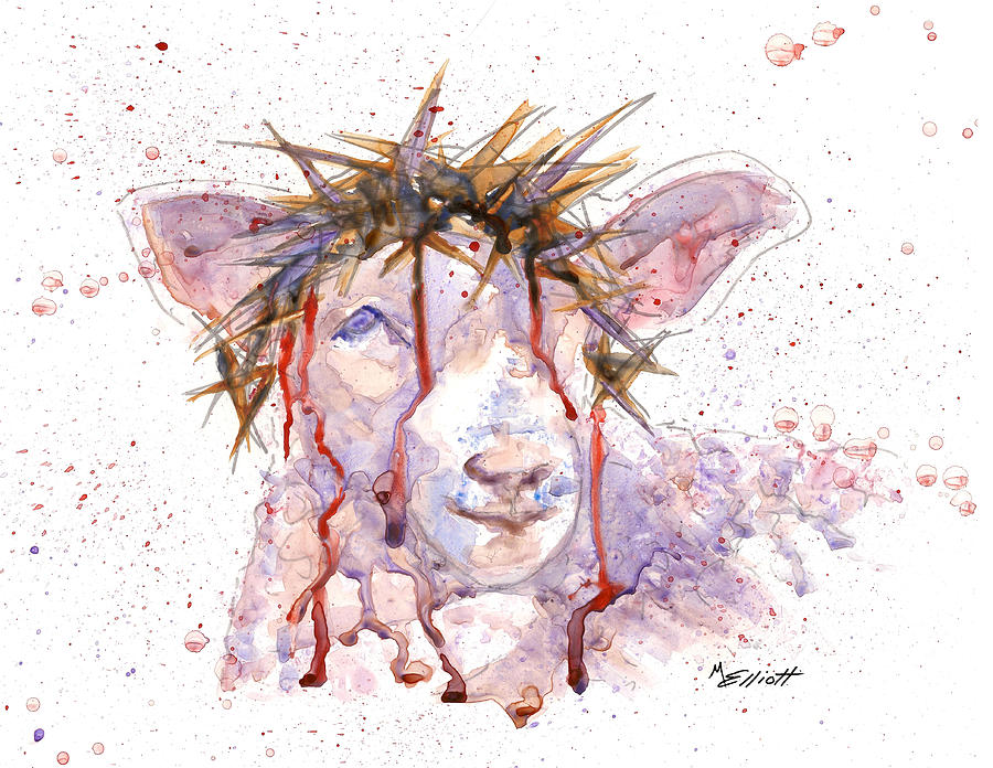 Lamb Painting - Behold the Lamb by Marsha Elliott