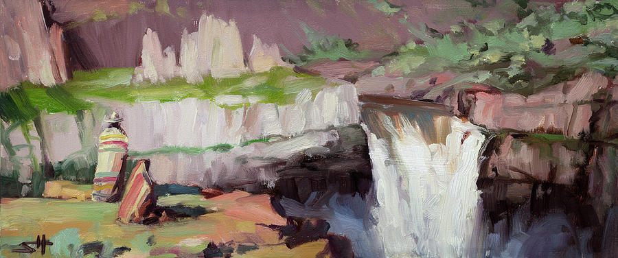 Waterfall Painting - Beholding Palouse Falls by Steve Henderson