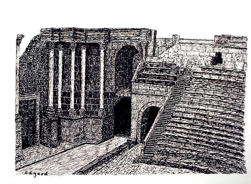 Beit Shean Anphytheatre Drawing by Edgard Loepert