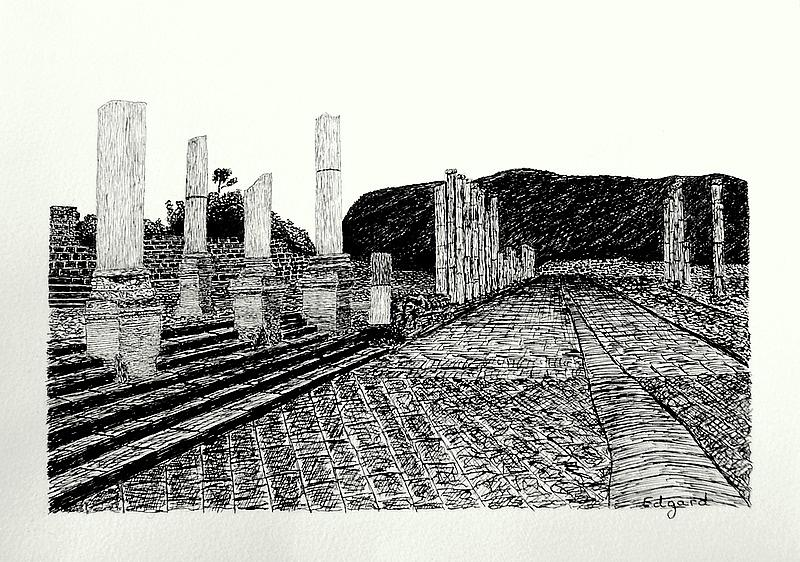 Beit Shean Drawing by Edgard Loepert