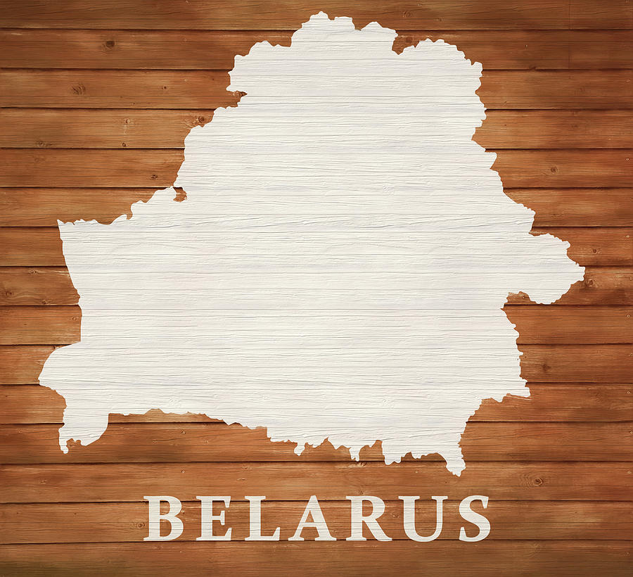 Belarus Mixed Media - Belarus Rustic Map On Wood by Dan Sproul
