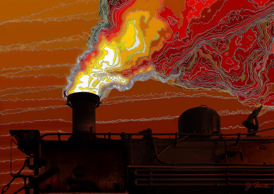Steam Engine Digital Art - Belching Fire by Joe Bonita