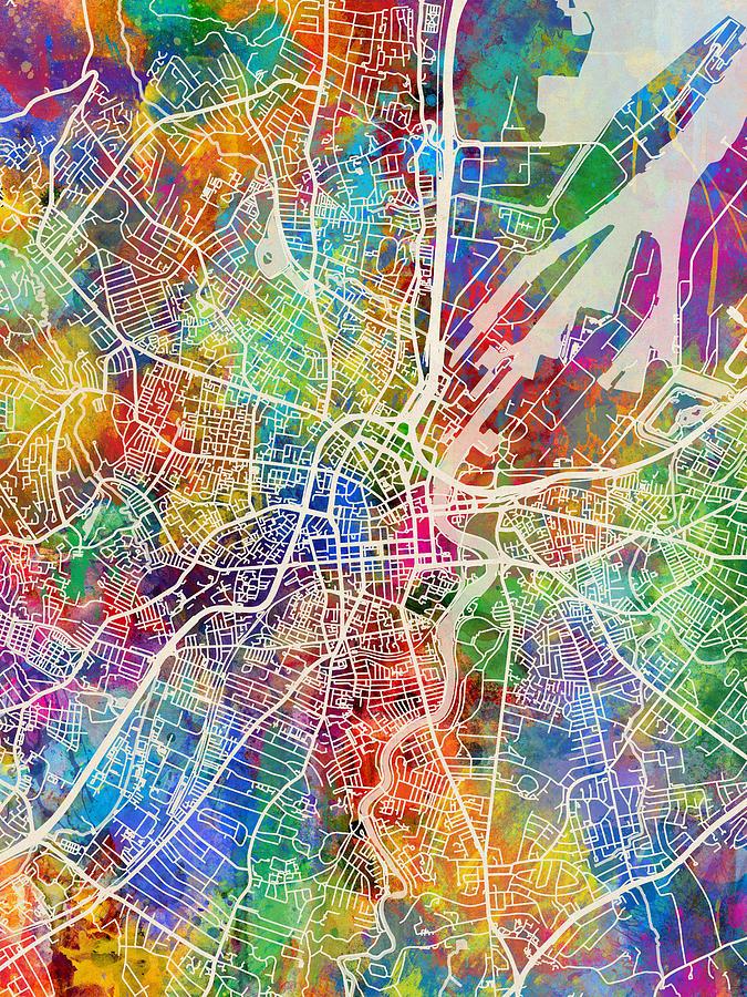 Belfast Northern Ireland City Map Digital Art by Michael Tompsett on