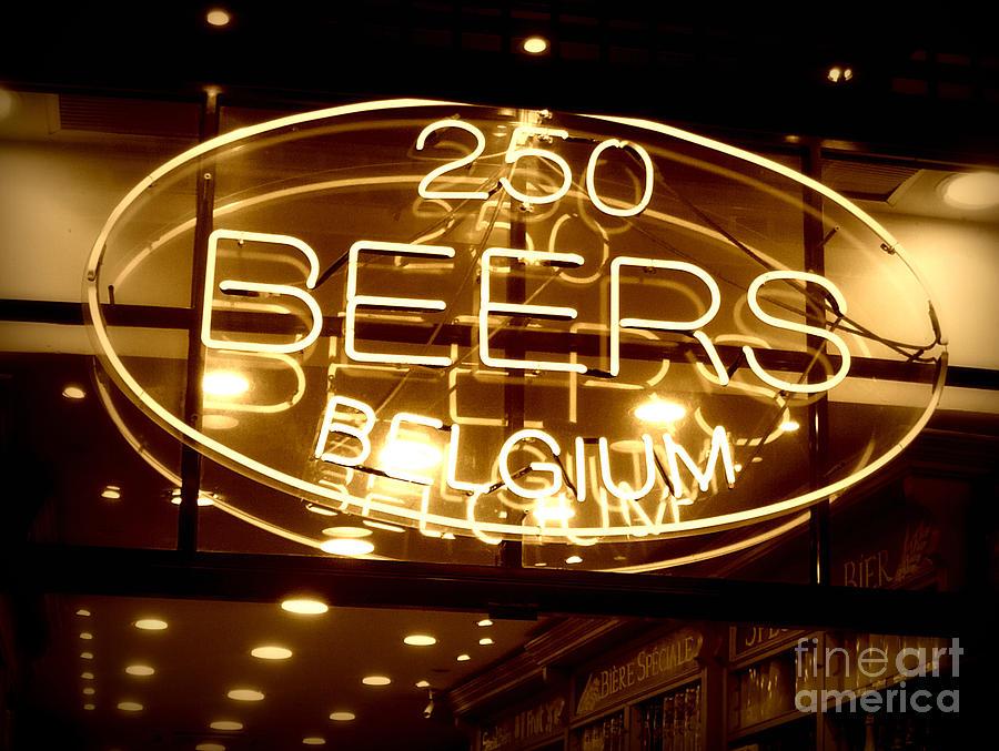Home Bar Photograph - Belgian Beer Sign by Carol Groenen