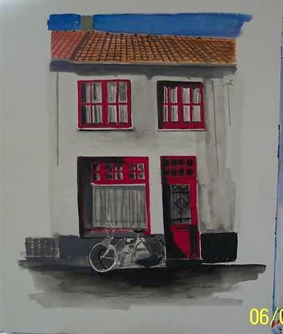 House Painting - Belgian House With Bike by Lori Tan