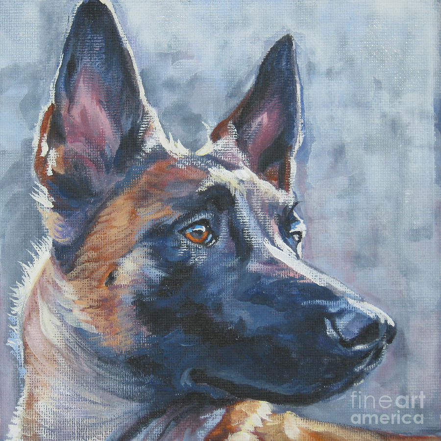Belgian malinois in winter painting by lee ann shepard for Dog painting artist