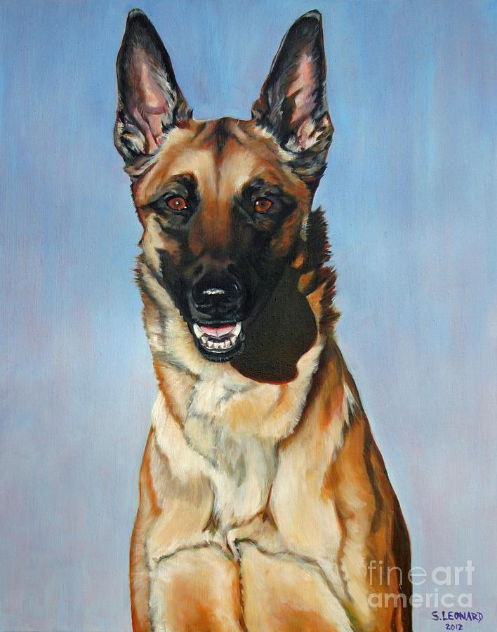 Dog Painting - Belgian Malinois by Suzanne Leonard