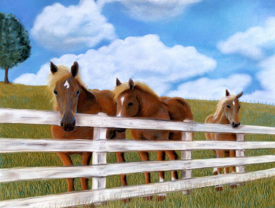 Landscapes Pastel - Belgians At Pasture by Jan Amiss