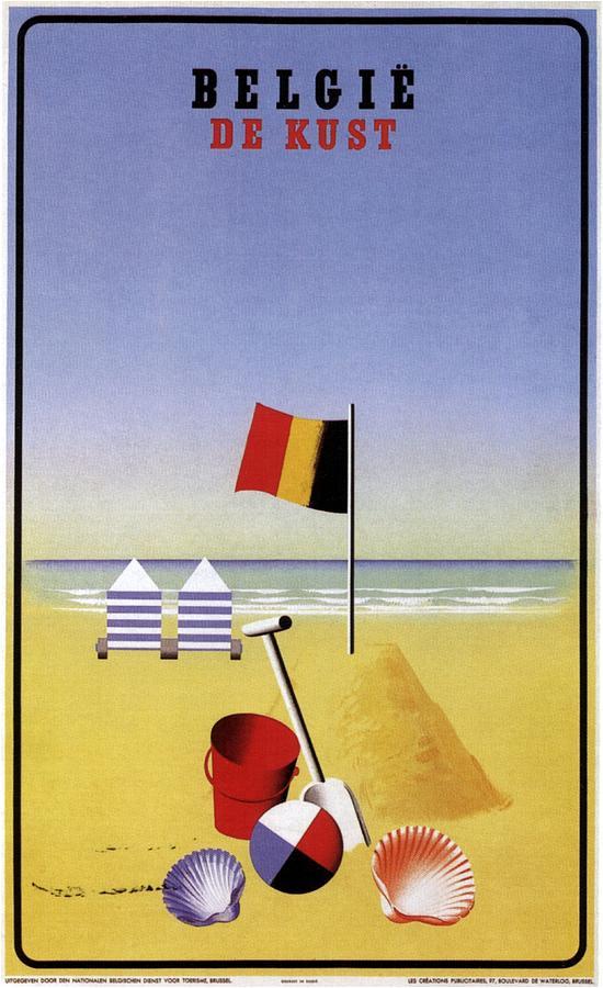 Belgie De Kust - Belgium The Coast - Retro Travel Poster - Vintage Poster Mixed Media