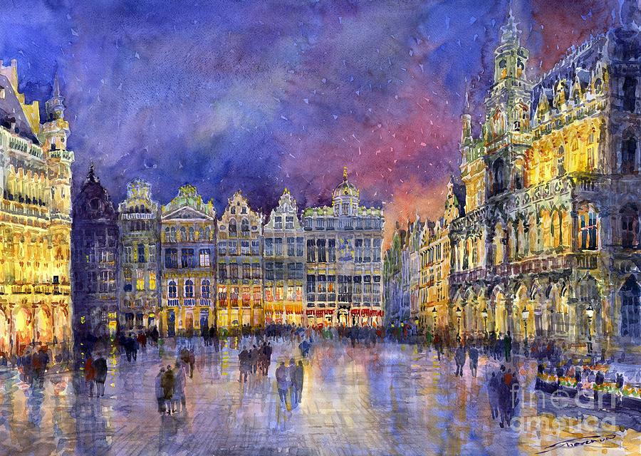 Watercolour Painting - Belgium Brussel Grand Place Grote Markt by Yuriy  Shevchuk