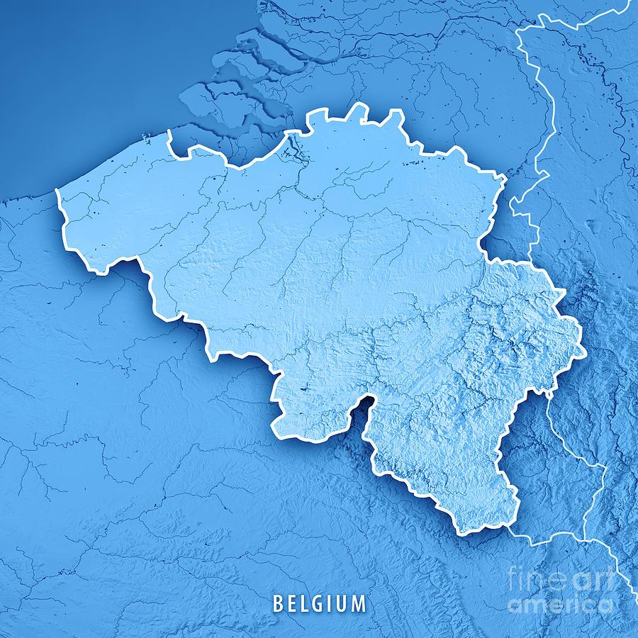 Belgium Topographic Map.Belgium Country 3d Render Topographic Map Blue Border By Frank Ramspott