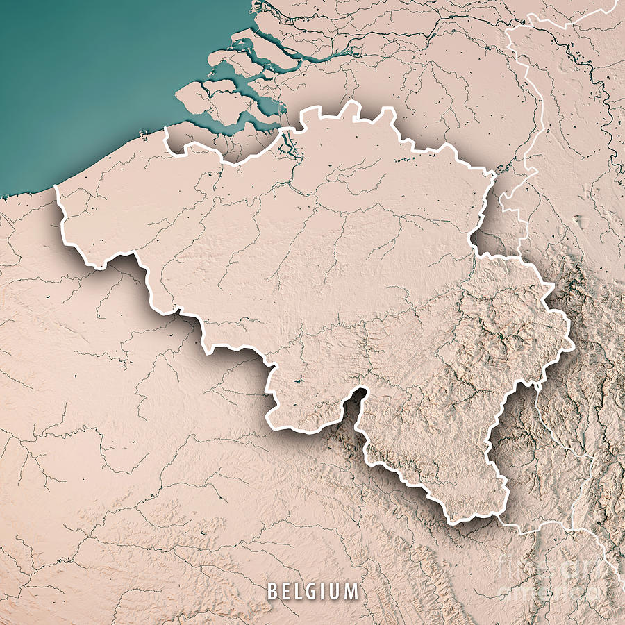 Belgium Topographic Map.Belgium Country 3d Render Topographic Map Neutral Border By Frank Ramspott