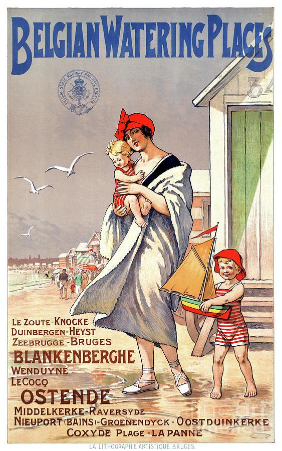 Vintage Mixed Media - Belgium Ostende Vintage Travel Poster Restored by Carsten Reisinger
