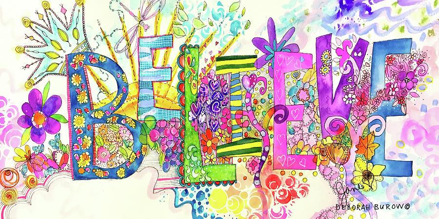 Purple Painting - Believe by DEBORAH BUROW and JANE BEEBE