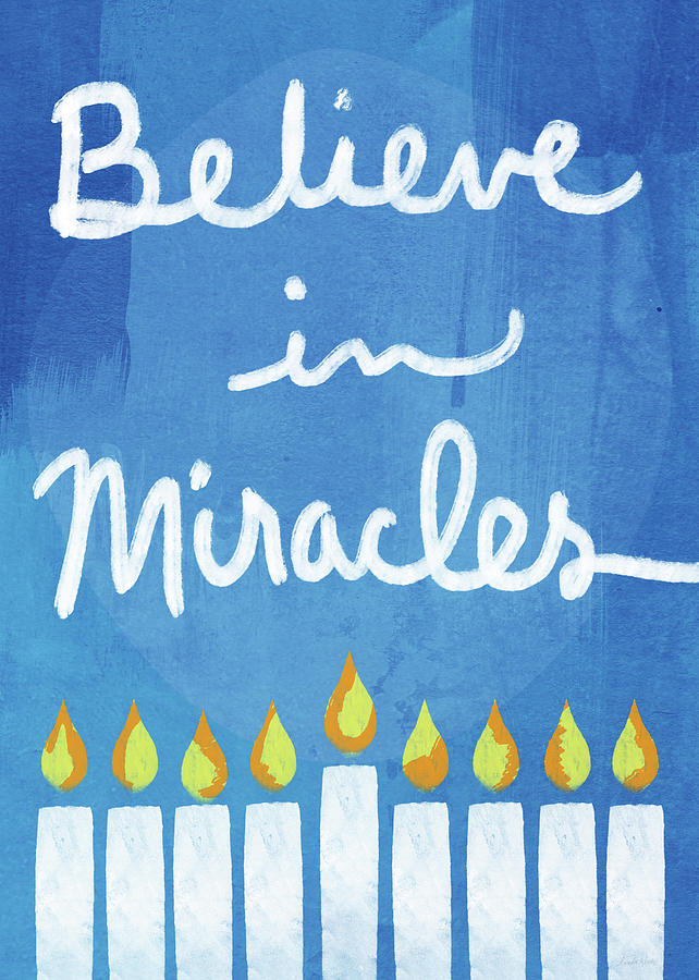 Hanukkah Mixed Media - Believe In Miracles- Hanukkah Art by Linda Woods by Linda Woods