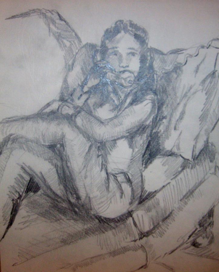 Belinda On Phone Drawing by Joseph Sandora Jr