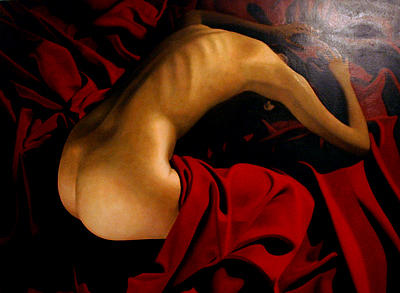 Female Painting - Belinda Red Drape by Toby Boothman