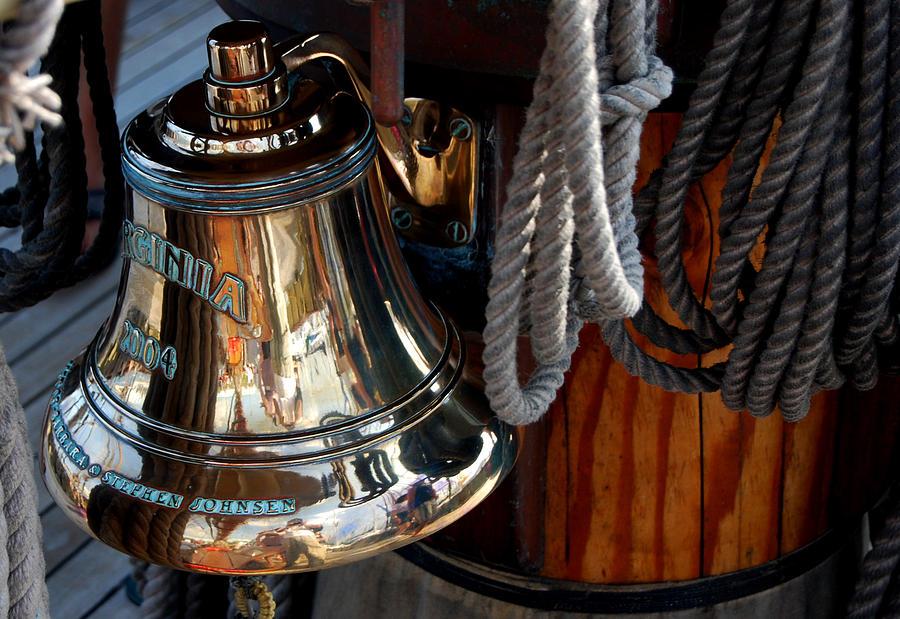 Schooner Photograph - Bell On Schooner Virginia by Gene Sizemore