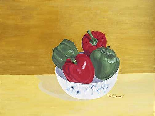 Bell Peppers Painting - Bell Peppers In Porcelain Bowl by Thi Nguyen