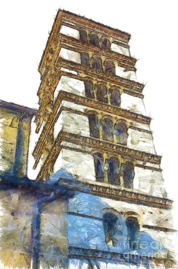 Pencil Digital Art - Bell Tower by Giuseppe Cocco