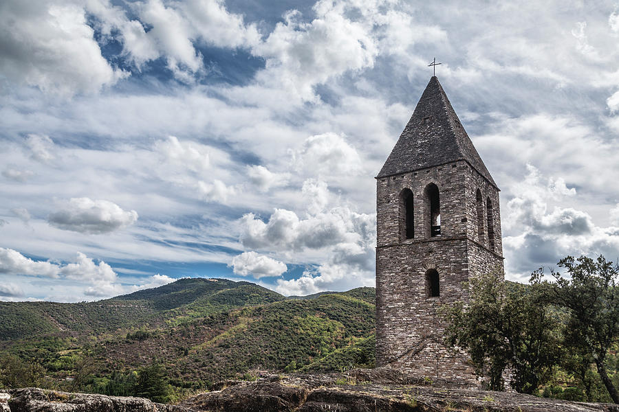 Bell tower of the old church, Olargues France by Maria Heyens