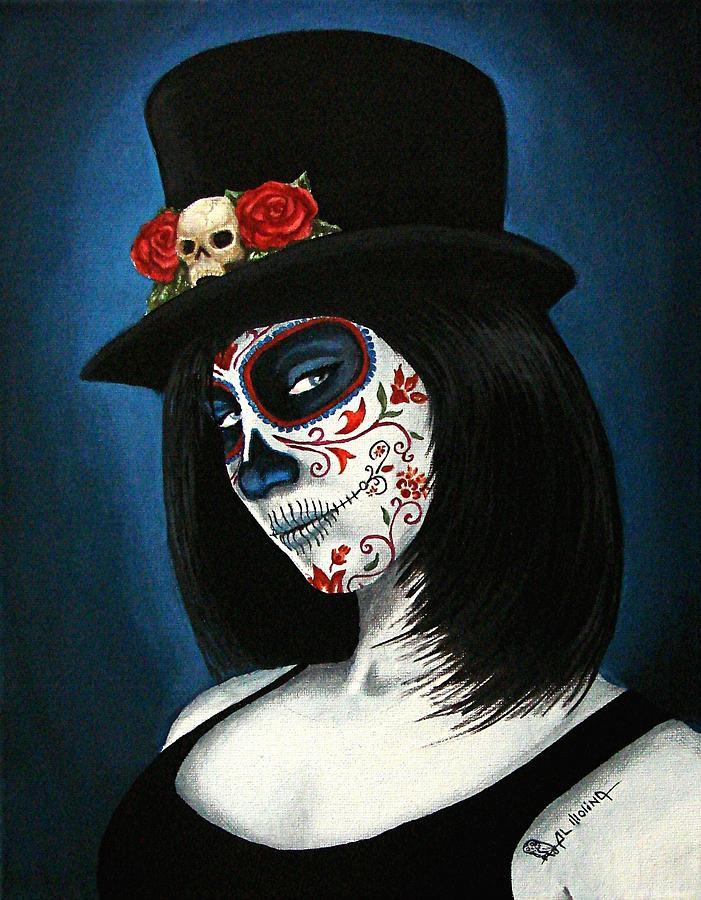 Dia De Los Muertos Painting - Bella Muerte by Al  Molina
