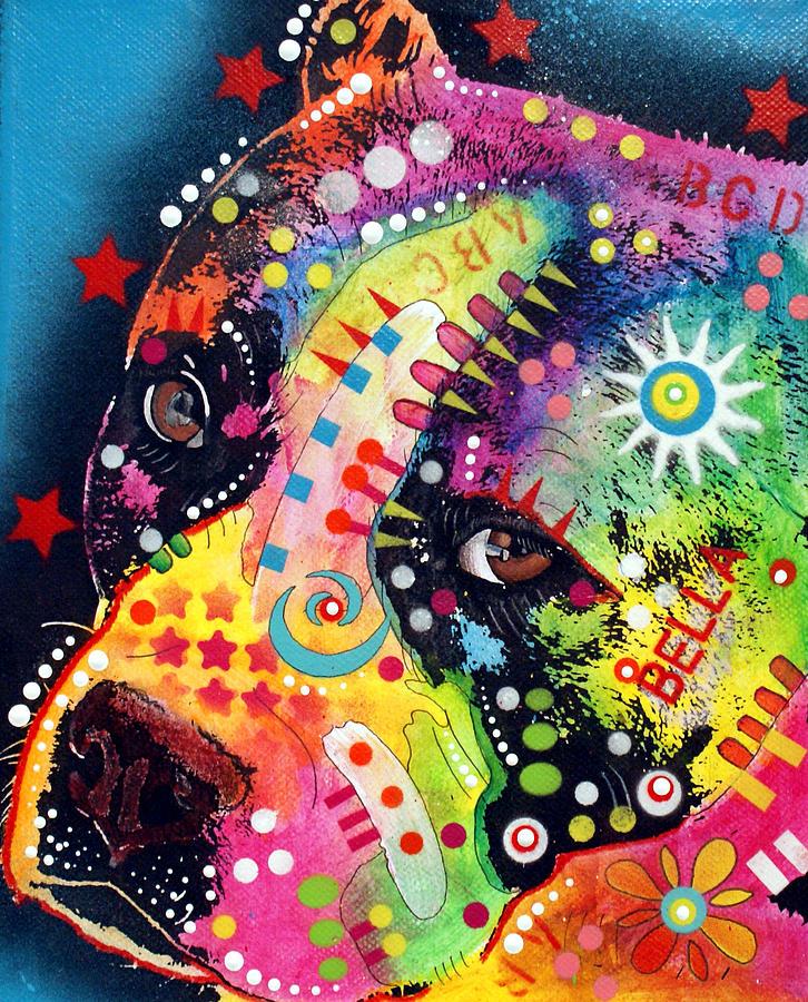 Pitbull Painting - Bella Pitbull by Dean Russo Art