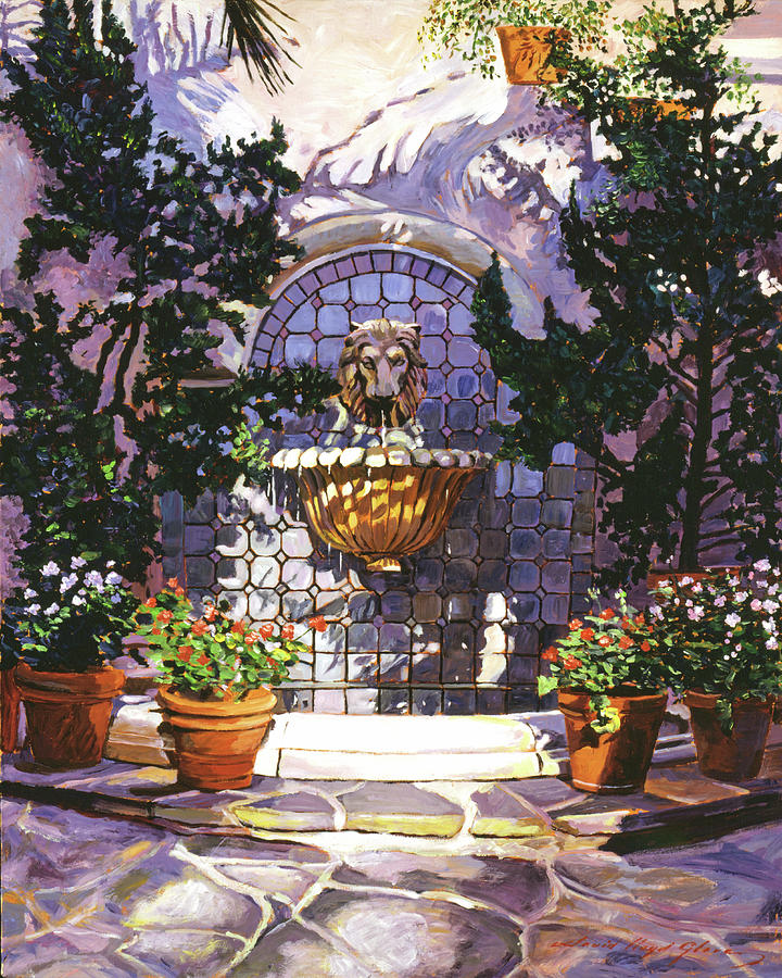 Flower Pots Painting - Bellagio Fountain by David Lloyd Glover