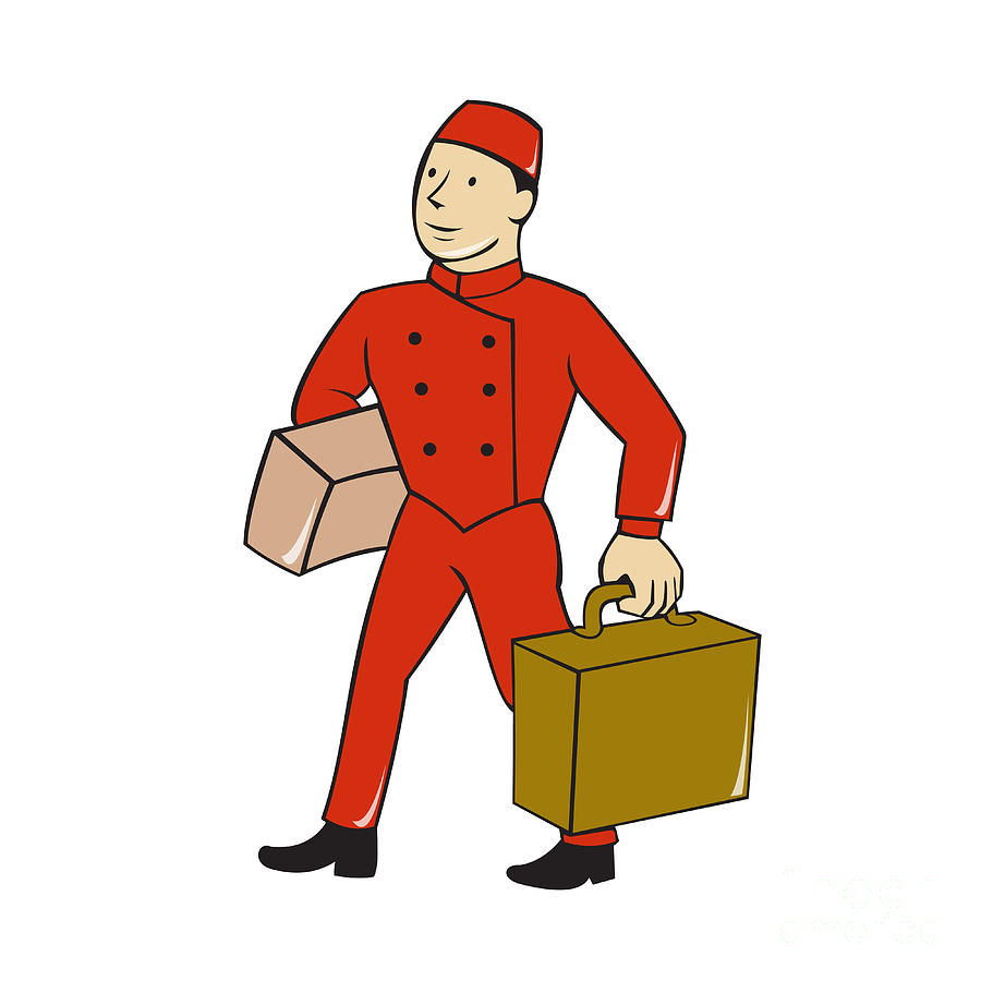 Bellboy Bellhop Carry Luggage Cartoon Digital Art By