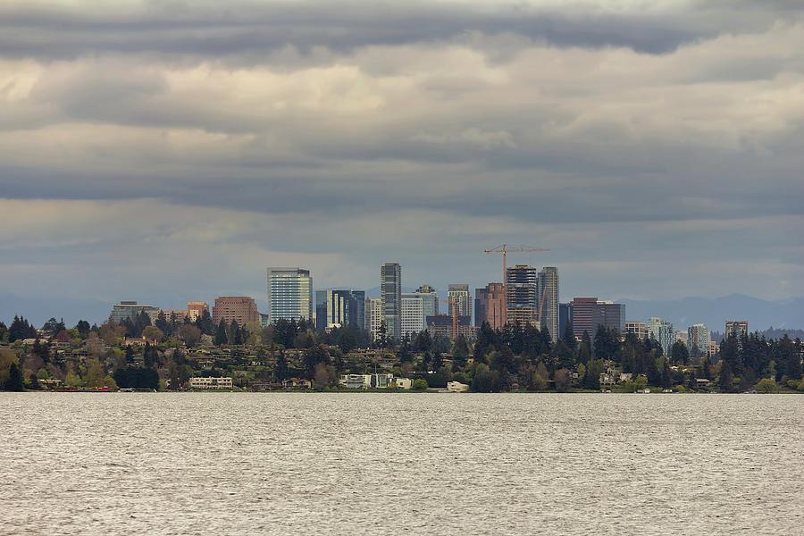 Lake Washington Photograph - Bellevue Skyline Along Lake Washington by David Gn