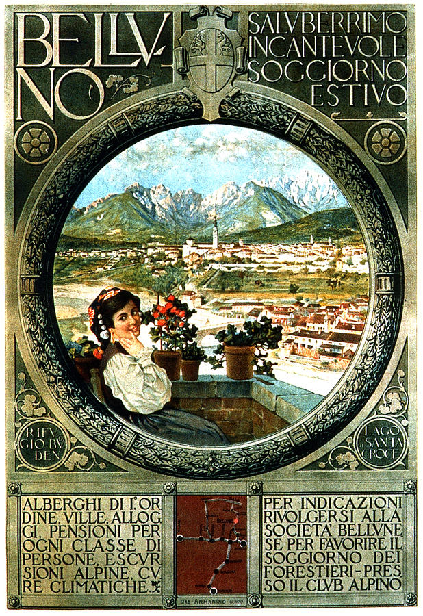 Belluno, Italy - Dolomites - Vintage Italian Travel Poster Mixed Media