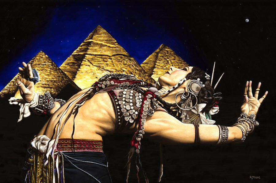 Bellydance Painting - Bellydance Of The Pyramids - Rachel Brice by Richard Young