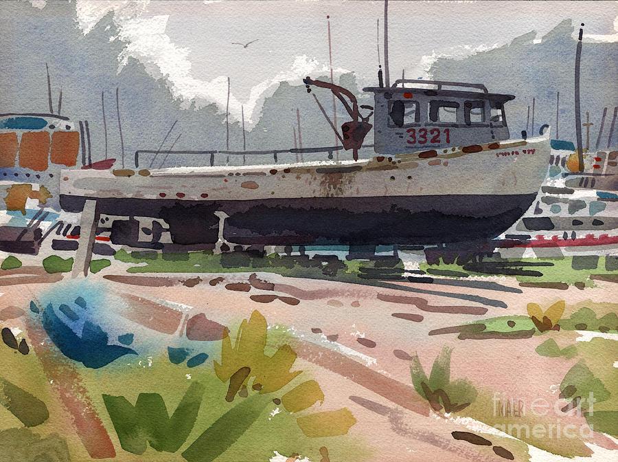Belmar Painting - Belmar Boatyard by Donald Maier