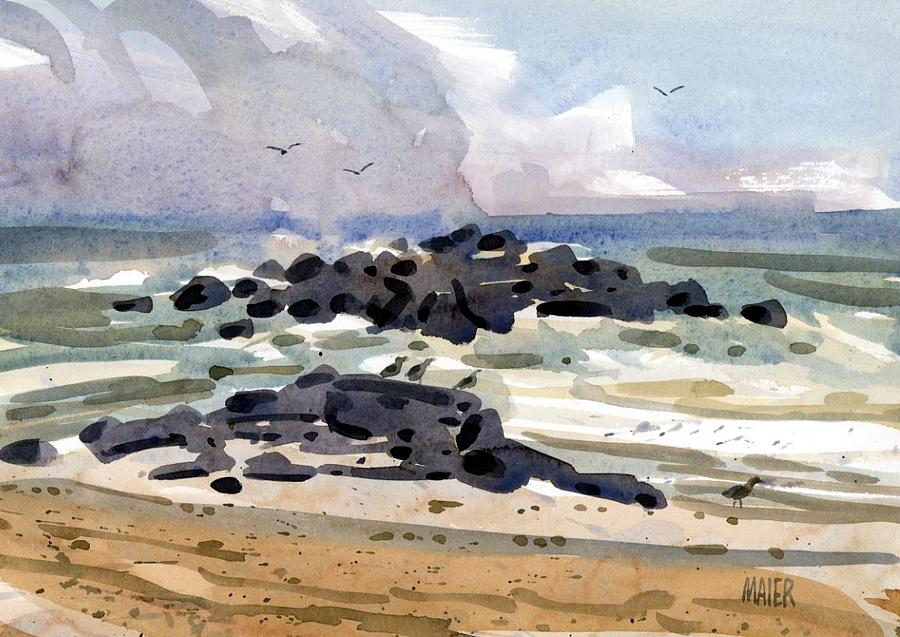 Jetty Painting - Belmar Jetty Two by Donald Maier