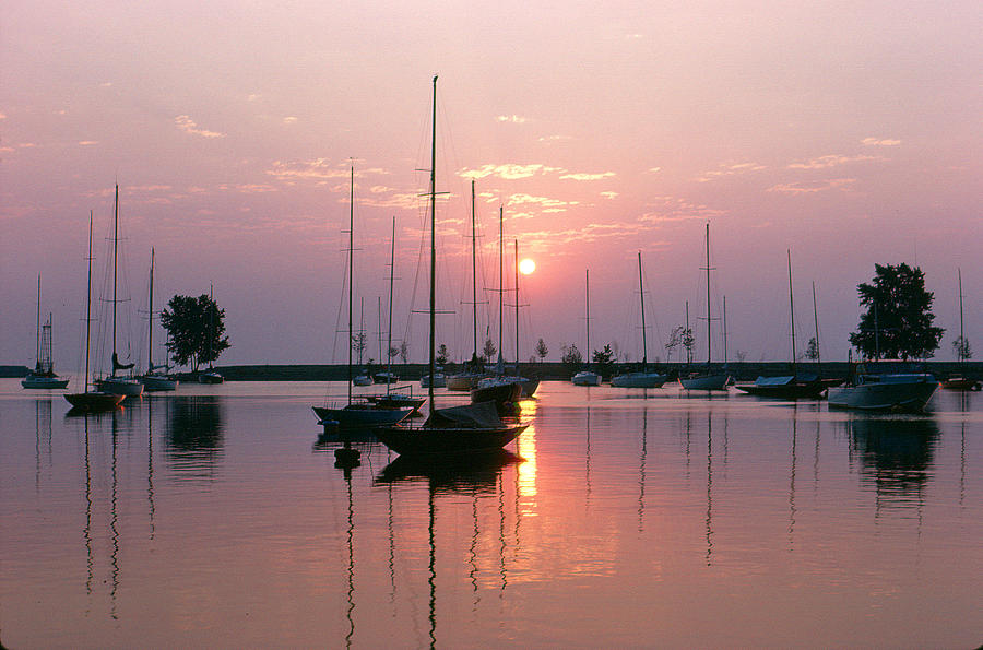 Chicago Photograph - Belmont Harbor Sunrise 1973 by Thomas Firak